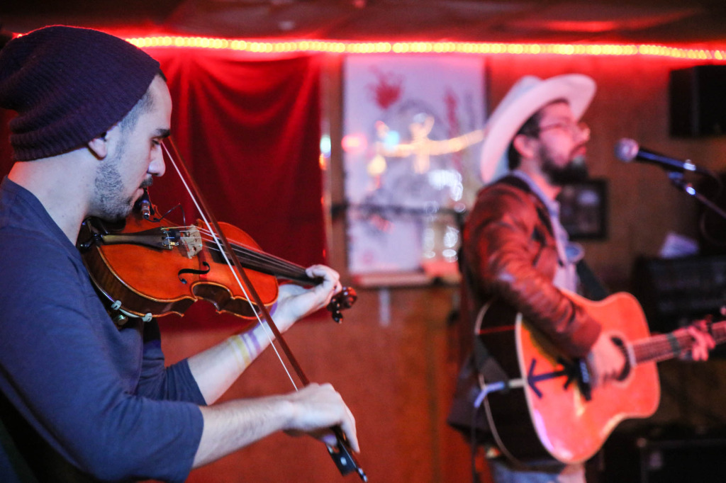 Benjamin Levy (violin) and Lee Jaster at Sam's Town Point in Austin, TX. Photography by Geofferson Cole.